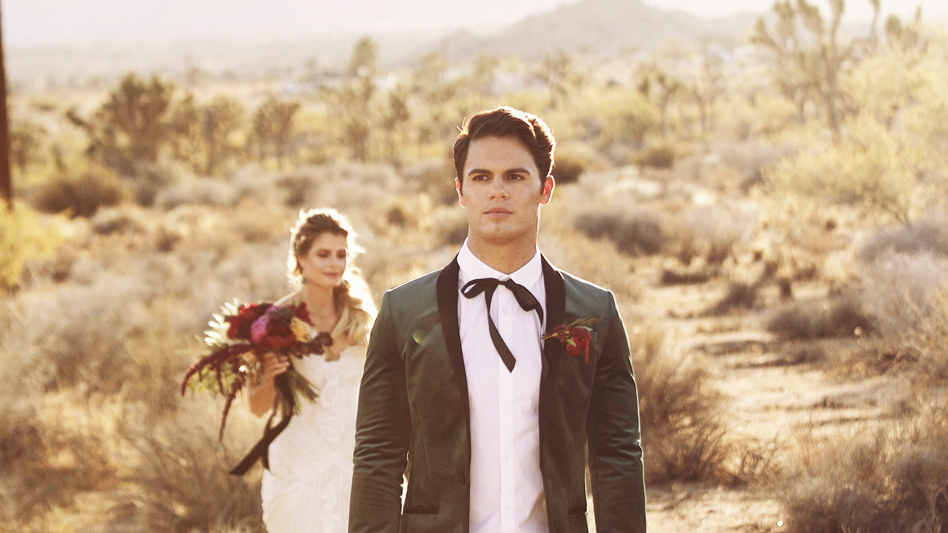 Bride and groom during first look at a Joshua Tree Wedding Styled Shoot