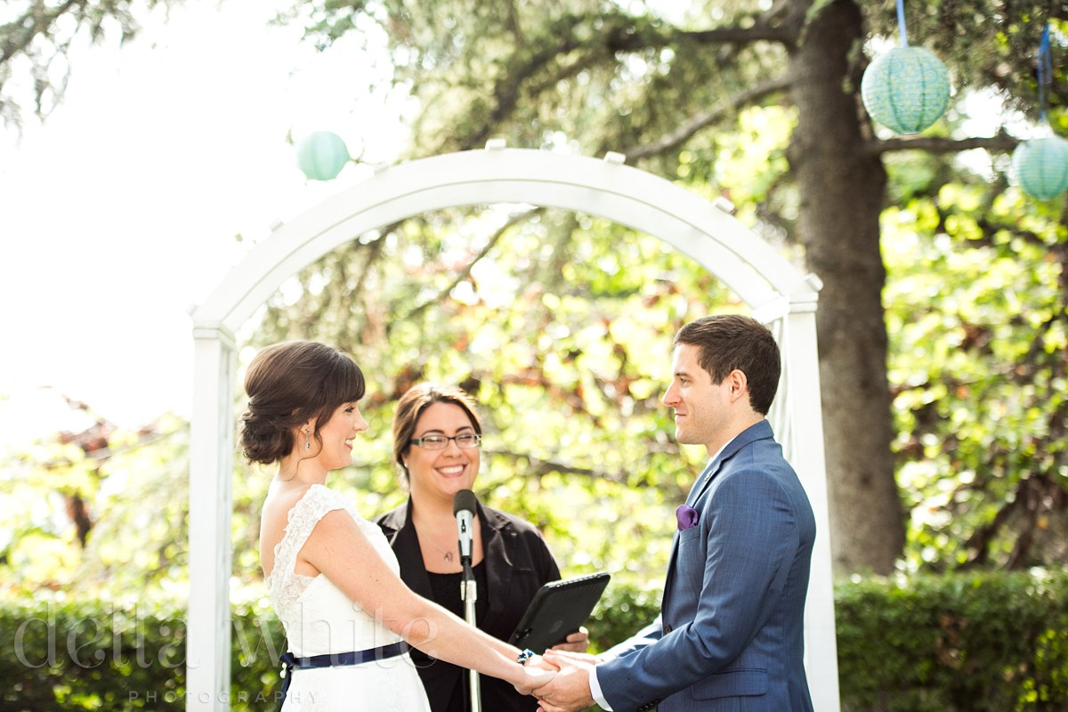 bride and groom during outdoor wedding ceremony with officiant Minister Marie
