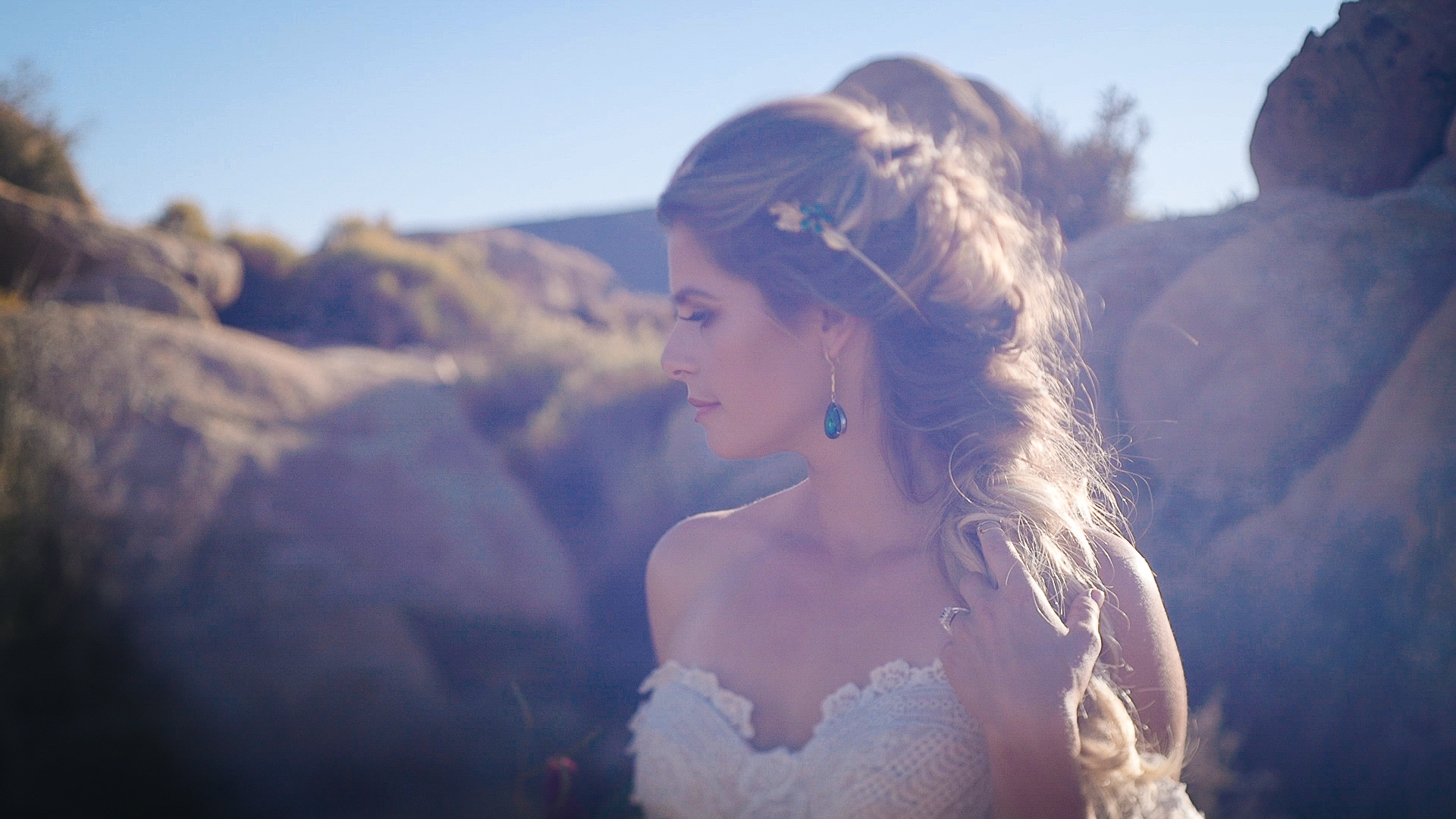 Bride at the Ruin Venue in Joshua Tree, Pioneertown.
