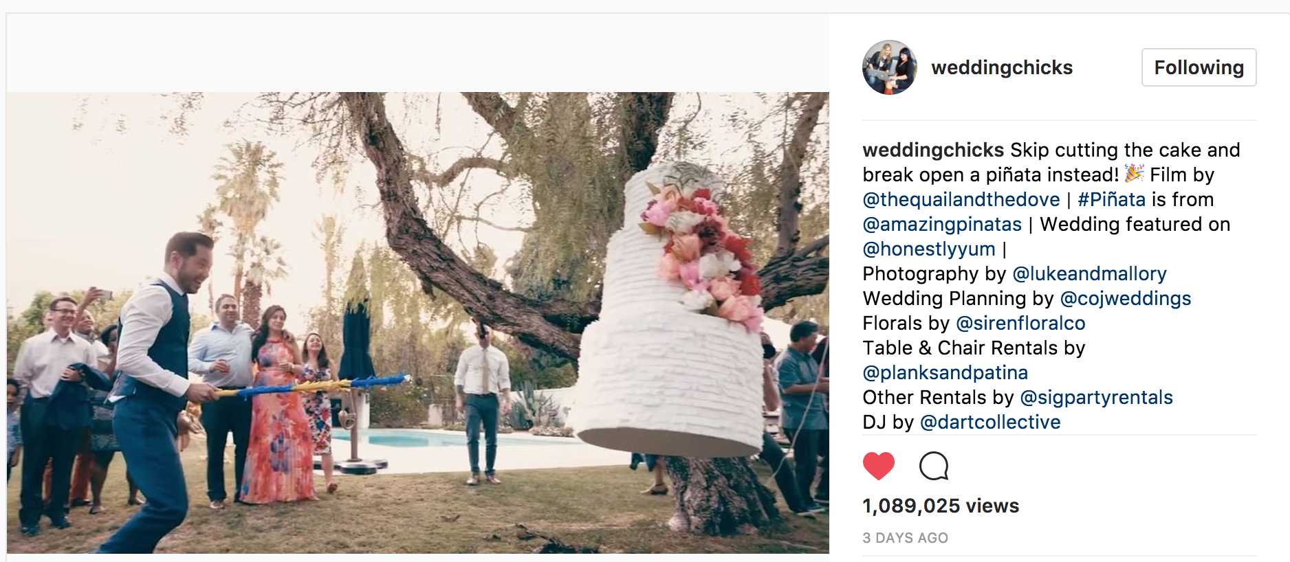 Screenshot of wedding chicks instagram