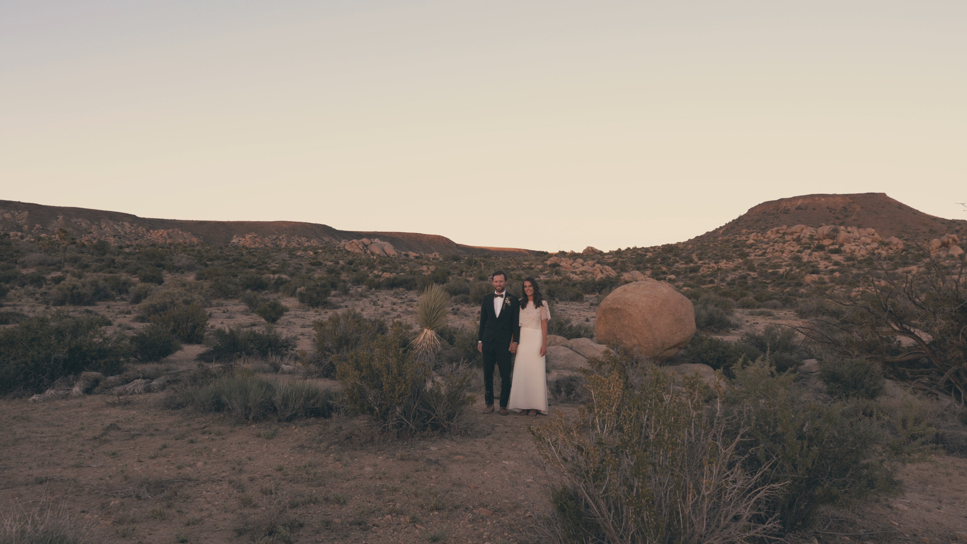 Bride and Groom at dusk on their wedding day near Joshua Tree